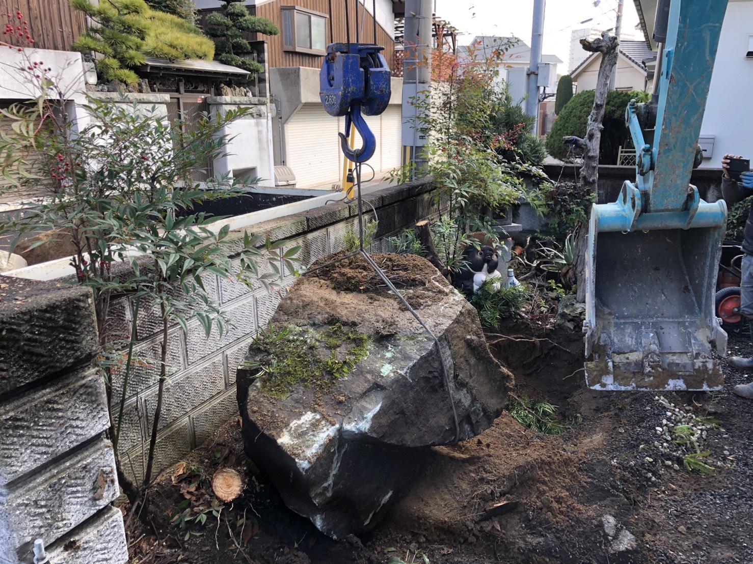 施工事例〔その他特殊工事〕石垣・庭石の撤去工事