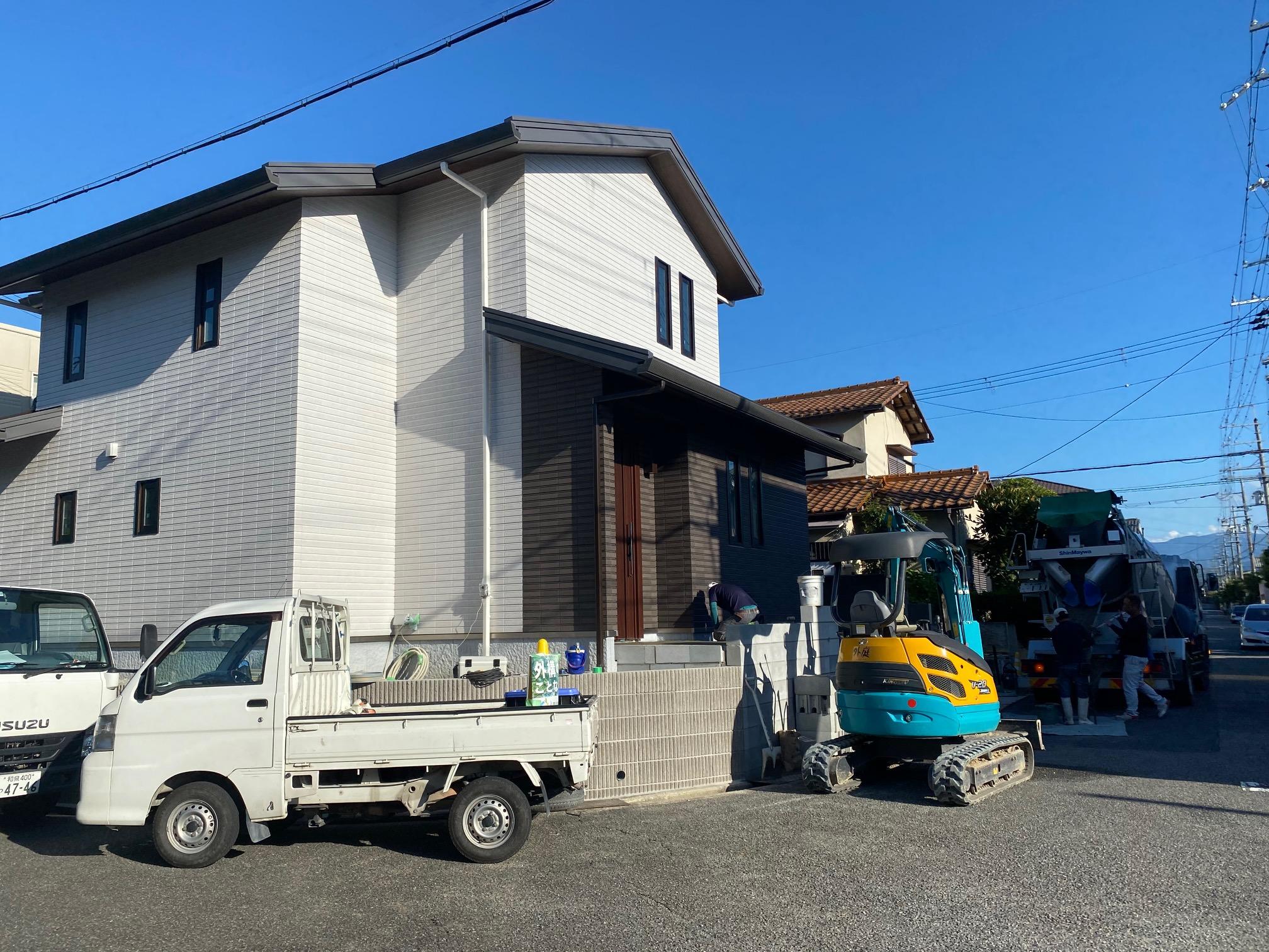 堺市南区手入れの必要ない外構工事スタート!